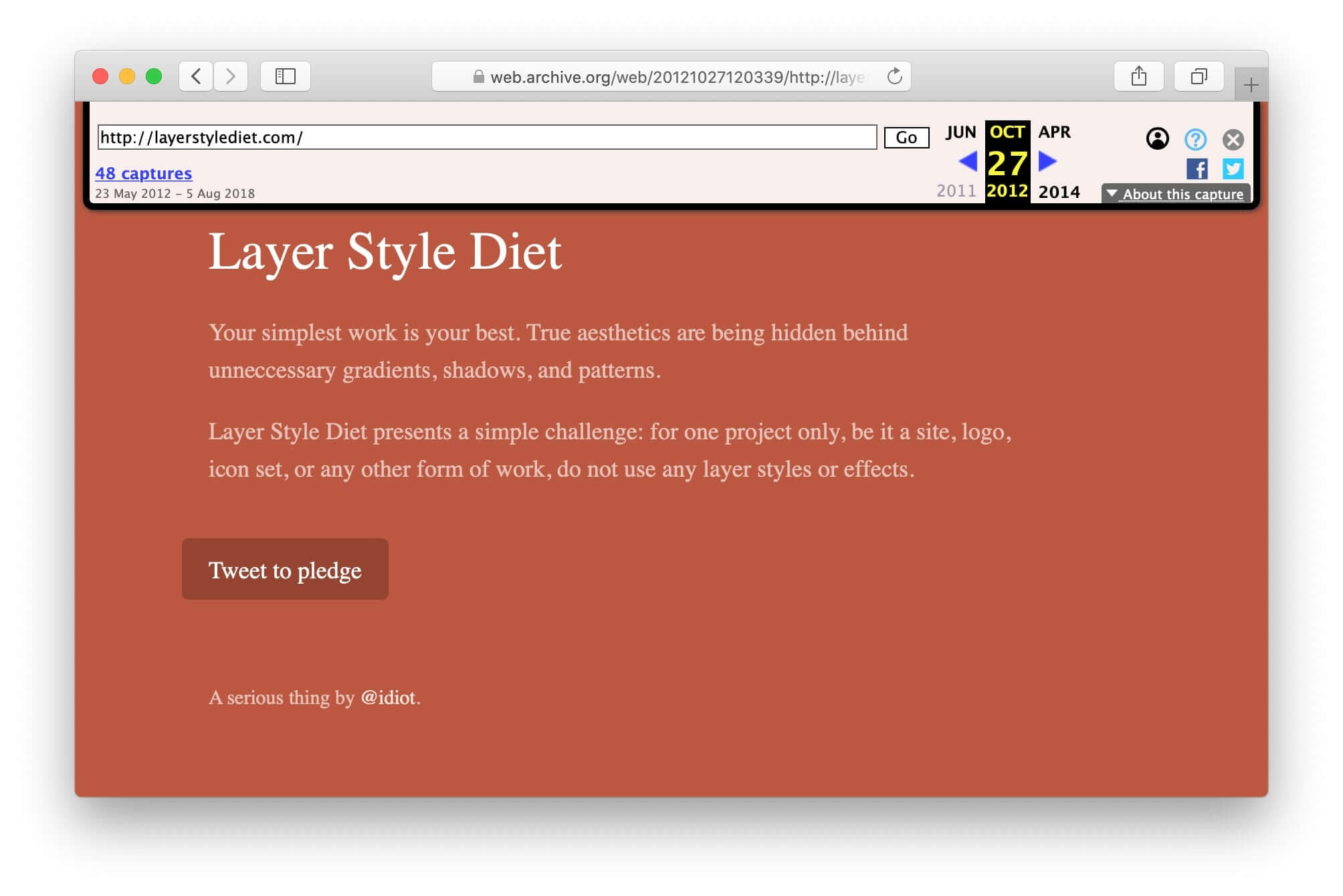 Screenshot of the layer style diet webpage